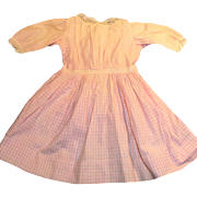 Antique Pink and White Check Cotton Doll Dress With Lace Trim