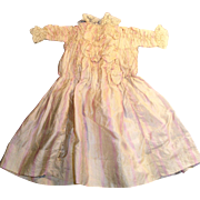 1800s Antique Doll Dress Lavender And Cream Stripe Silk With Lace