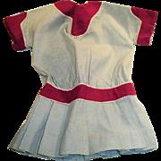 Antique 1910 Blue And Maroon Red Drop Waist Linen Doll Dress