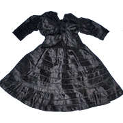 1800's Antique Two Piece Black Fashion Doll Outfit