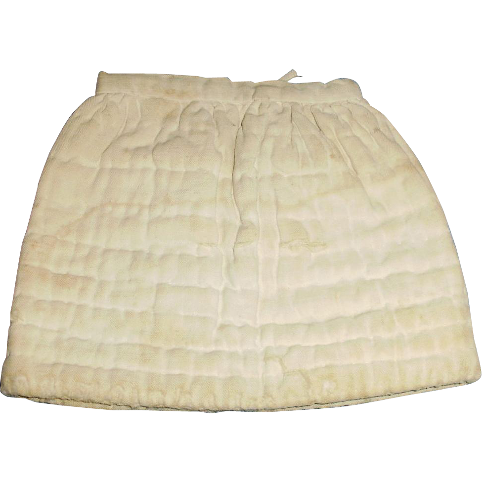 Antique Quilted White Cotton Doll Half Slip