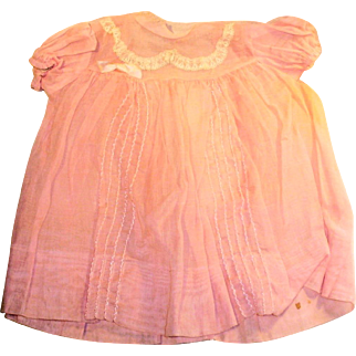 Vintage Pink Organdy And Lace Baby Doll Dress