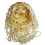 Antique Small German Pale Blond Mohair Doll Wig