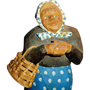 Vintage Carved Wood Norway Woman Holding Basket Doll Figure