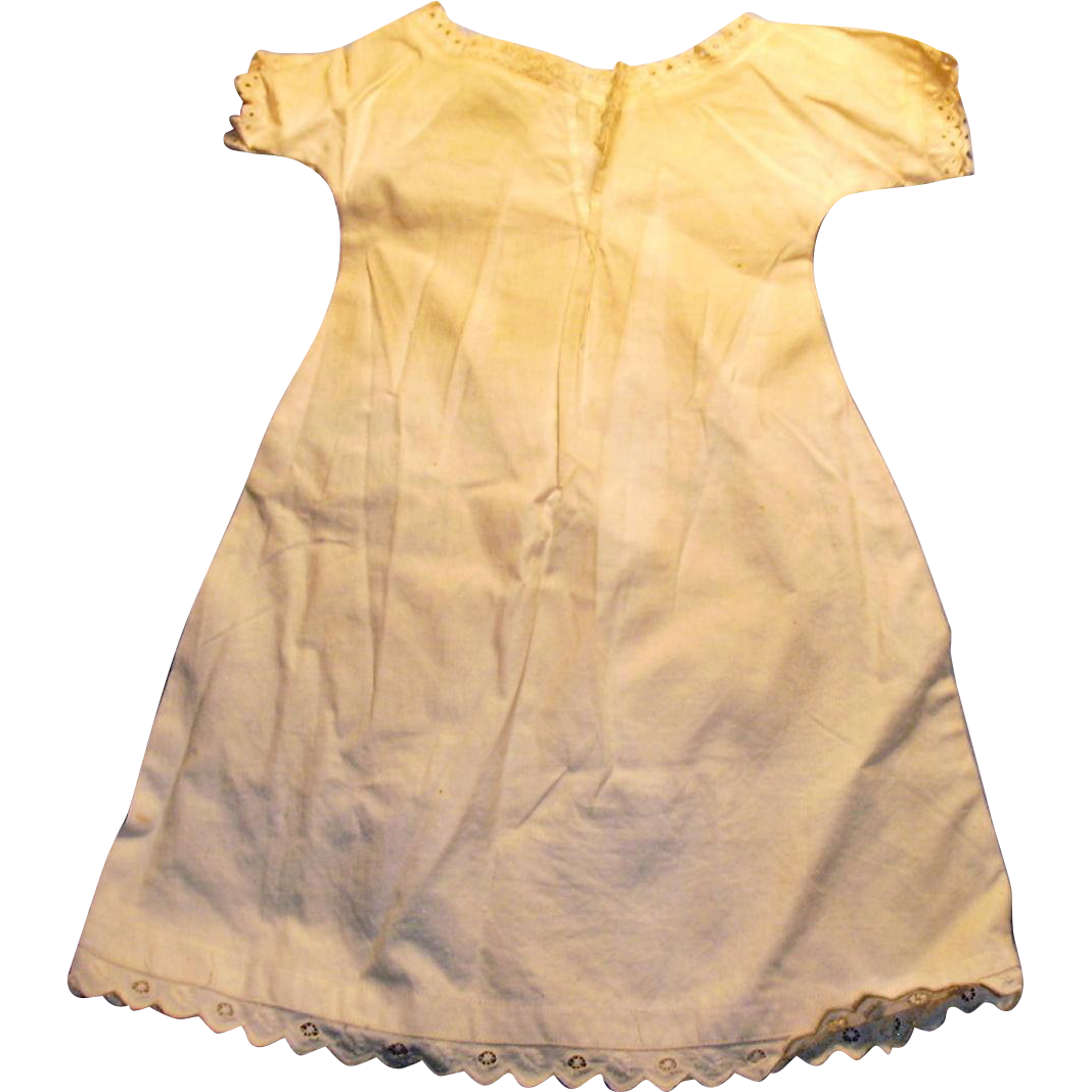Antique White Cotton And Eyelet Trim Doll Chemise