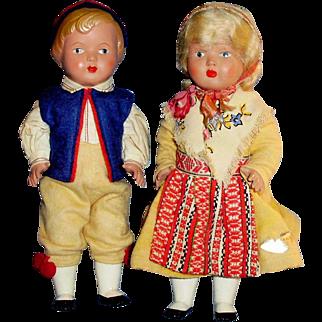Pair Vintage Celluloid Goda Ideer Leksand Sweden Dolls