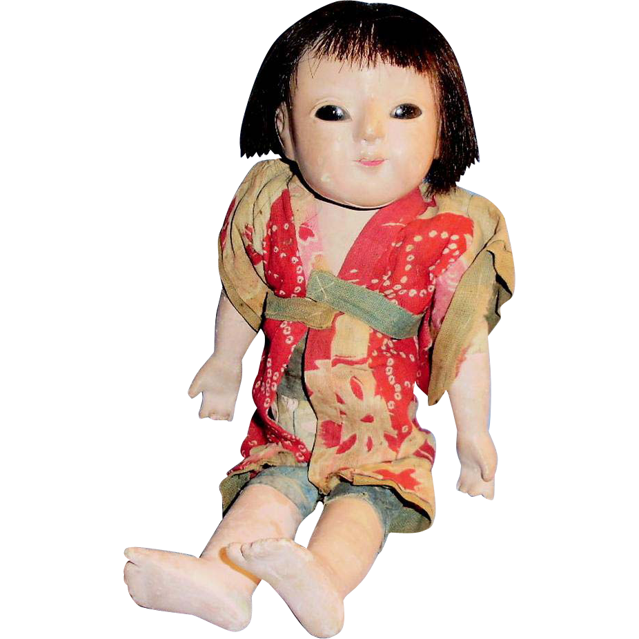 Old Gofun And Cloth Japanese Ichimatsu Doll