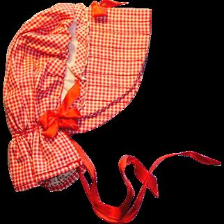 Vintage Red And White Gingham Doll Polk Bonnet