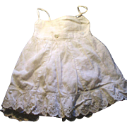 Antique White Cotton Three Piece Button Together Doll Underwear