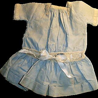 Antique Pale Blue Cotton Drop Waist Doll Dress