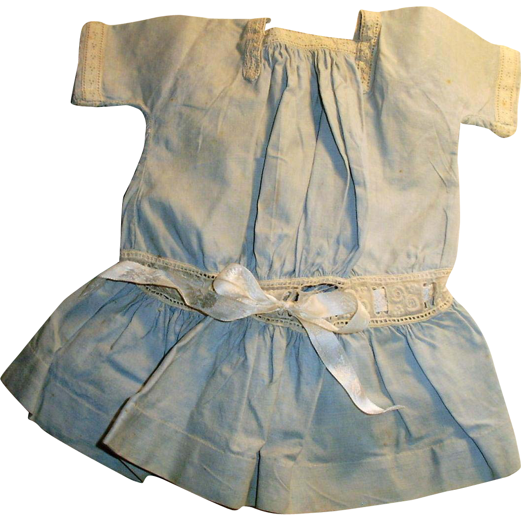 Antique Pale Blue Cotton Drop Waist Doll Dress