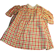 Antique Hand Stitched Red White Tan Gingham Plaid Doll Dress