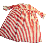 1910 Antique Red White And Lace Stripe Doll Dress