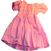 Antique Hand Stitched Pink Cotton Wide Shoulder Doll Dress