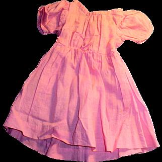 Antique Hand Stitched Pink Cotton Wide Shoulder Doll Dress
