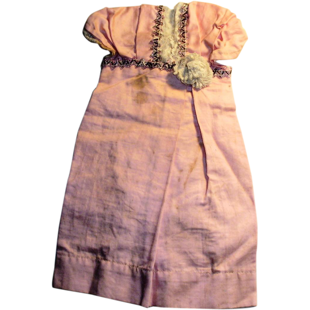 Fancy Antique Pink Cotton And Lace Edwardian Doll Dress