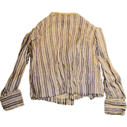 Antique Lavender And White Stripe Long Sleeve Silk Doll Blouse