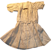 Antique Black And White Stripe Low Waist Cotton Doll Dress