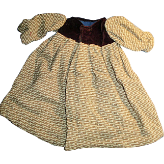 Antique Brown Velvet And Patterned Wool Doll Coat