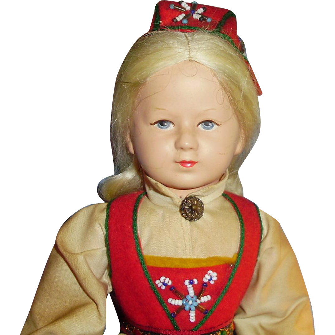 12 Inch Ronnaug Pettersen Norway Doll In Original Clothes Tag Vere Merke