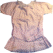 Antique Pink Floral And Pink Embroidered Drop Waist Doll Dress