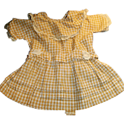Antique Dark Yellow and White Stripe Drop Waist Doll Dress