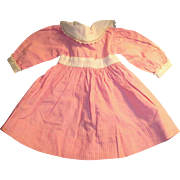 Antique Pink And White Cotton Cloth Shirtwaist Doll Dress