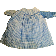 Small Size Antique Blue Cotton Gingham Doll Dress