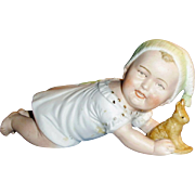 Antique German Piano Baby Bisque Crawling Baby Holding Rabbit