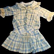 Antique Blue And White Plaid Drop Waist Doll Dress