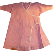 Antique Pink And White Cotton Gingham Doll Dress