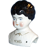 Antique German China Doll Agnes Name On Shoulder