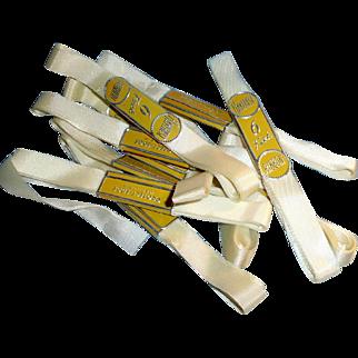 Vintage White Original Rayon Ribbon In Original Wrappers