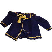 Antique Small Navy Wool And Embroidered Doll Jacket