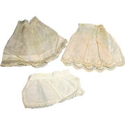 Three Small Size Antique Cotton And Lace Doll Slips