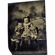 Antique Tin Type Children Holding Paper Mache Greiner Doll