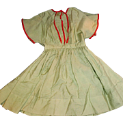 Antique Large Green And Red Ribbon Trim Cotton Doll Shirtwaist Dress