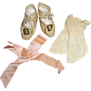 Antique German White Doll Shoes White Socks And Pink Silk Bow