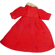 Tiny Red Wool And Lace Hand Stitched Doll Dress