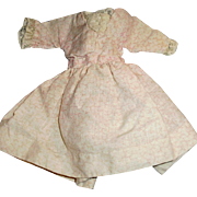 Small Pink And White Calico And Lace Antique Doll Outfit