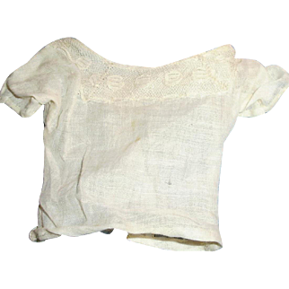 Antique Short Sleeve White Cotton And Lace Fashion Doll Blouse