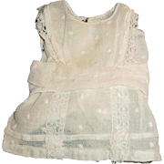 Small Size White Doted Swiss And Lace Antique Doll Dress