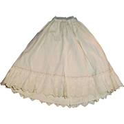 Vintage Long Off White Cotton Eyelet Doll Half Slip