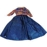 Antique Hand Stitched Blue Silk Doll Skirt And Wool Plaid Jacket