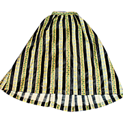Antique Black And yellow Stripe Print Doll Skirt