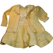 Antique Two Piece Off White Wool And Cotton Doll Outfit