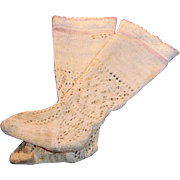 Antique Fancy Lacy Cotton Cream And Pink Doll Stockings