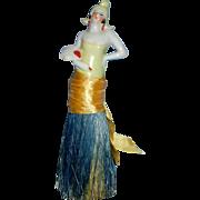 Antique China Art Deco Half Doll Brush Holding Fan