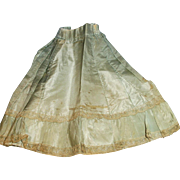 Antique Pale Blue Silk And Lace Fashion Doll Skirt
