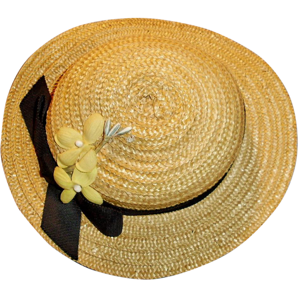 Antique Natural Straw Doll Hat With Black Ribbon